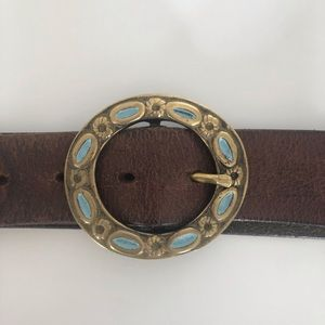 Rustic Leather Belt with Antique Brass Buckle
